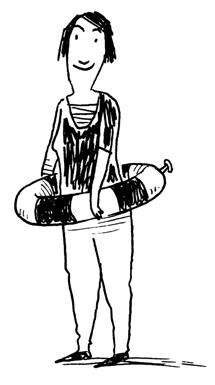 Illustration die ein Mann mit einem Rettungsring zeigt
