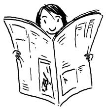 Eine Illustration eines Lesers der eine Tageszeitung liest