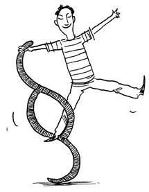 Illustration eines Mannes der mit einem Paragraphen Zeichen tanzt