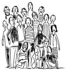 Illustration die eine Gruppe von Menschen zeigt